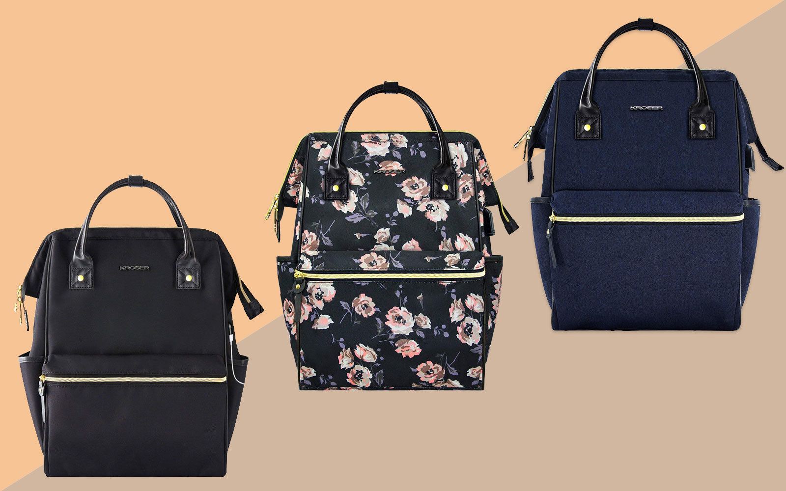 Three Backpacks, Black, Floral, and Navy