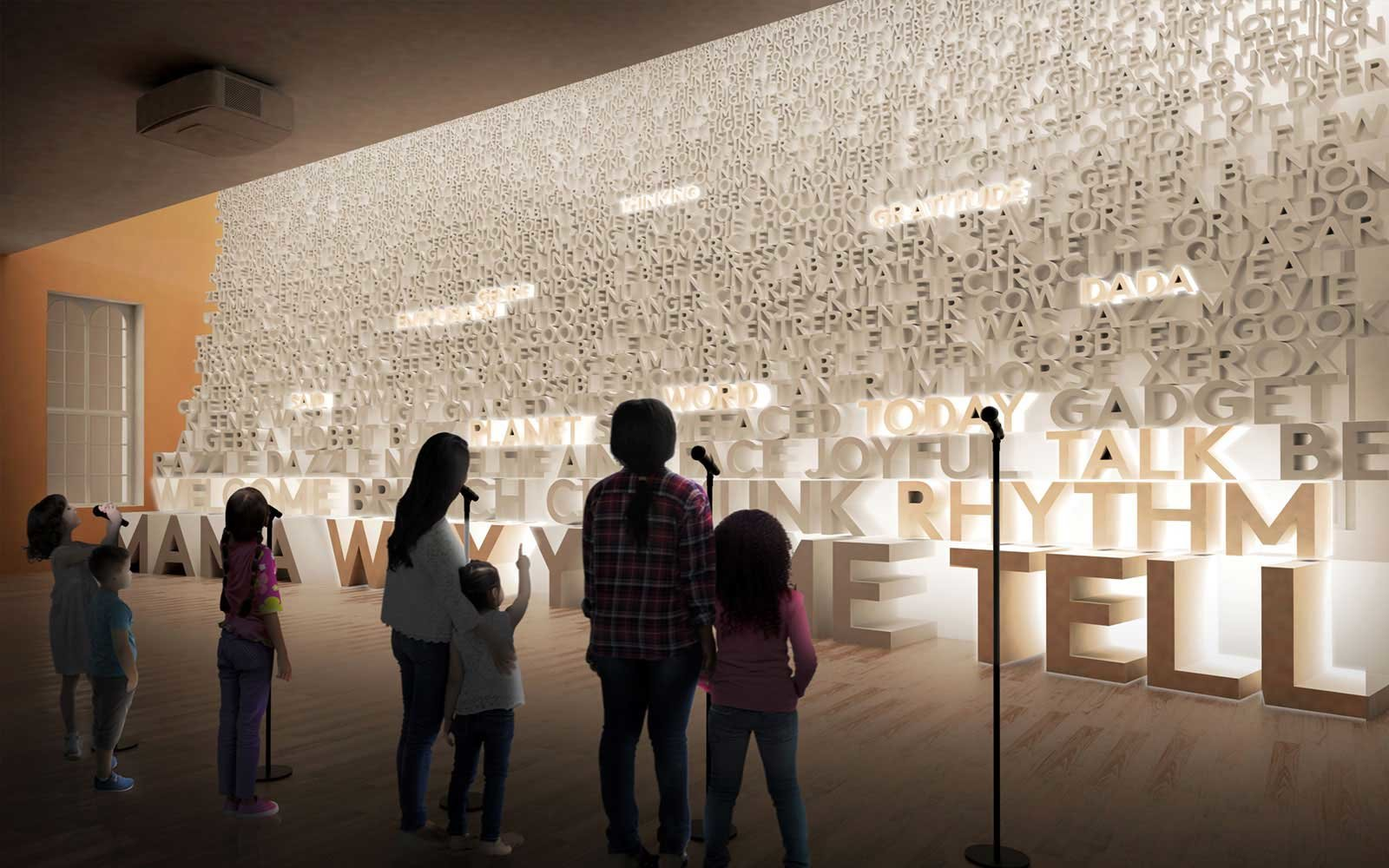 Planet Word Museum, a rendering of gallery exhibition indoors