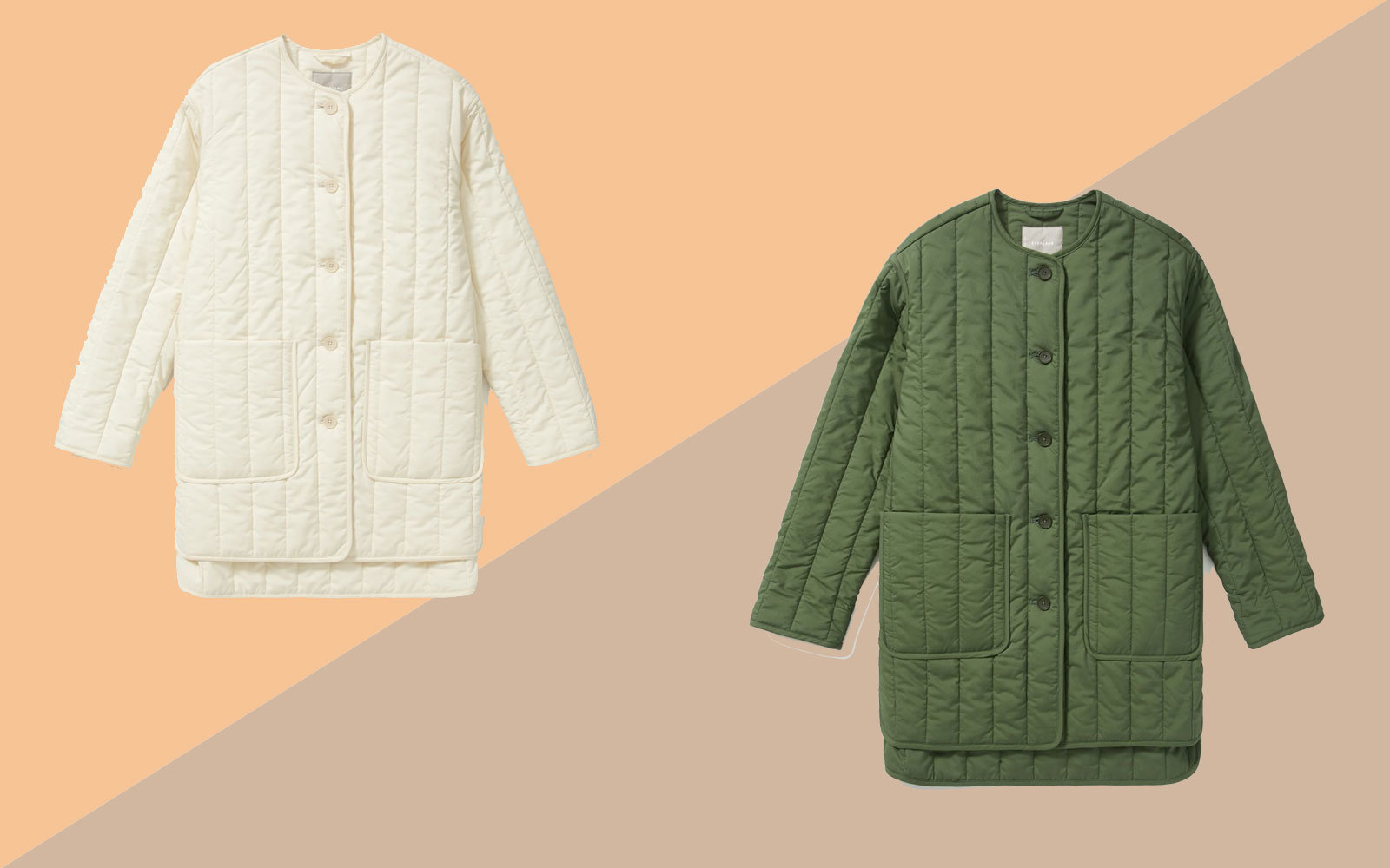 Cream and Army Green Quilted Jackets