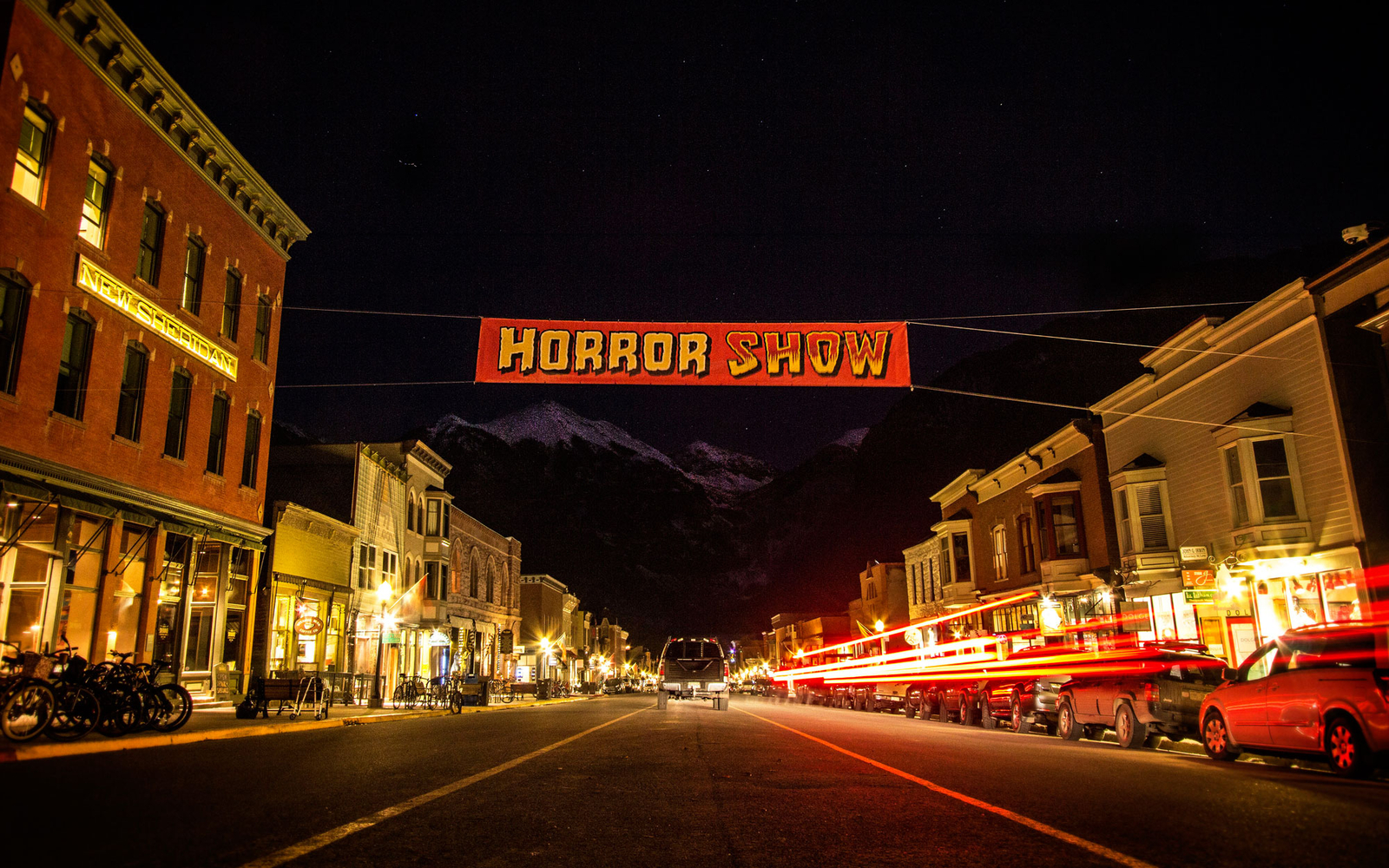 main street during halloween time in Telluride, CO