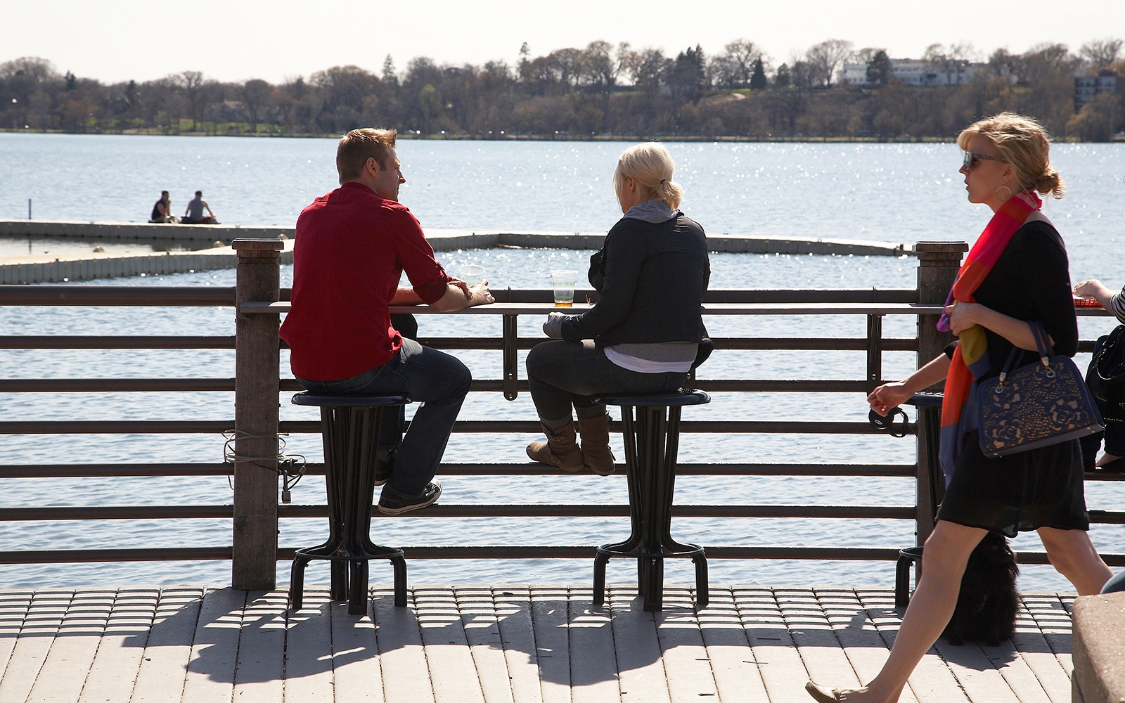 attractive couple on the waterfront in Minneapolis/St. Paul. MN