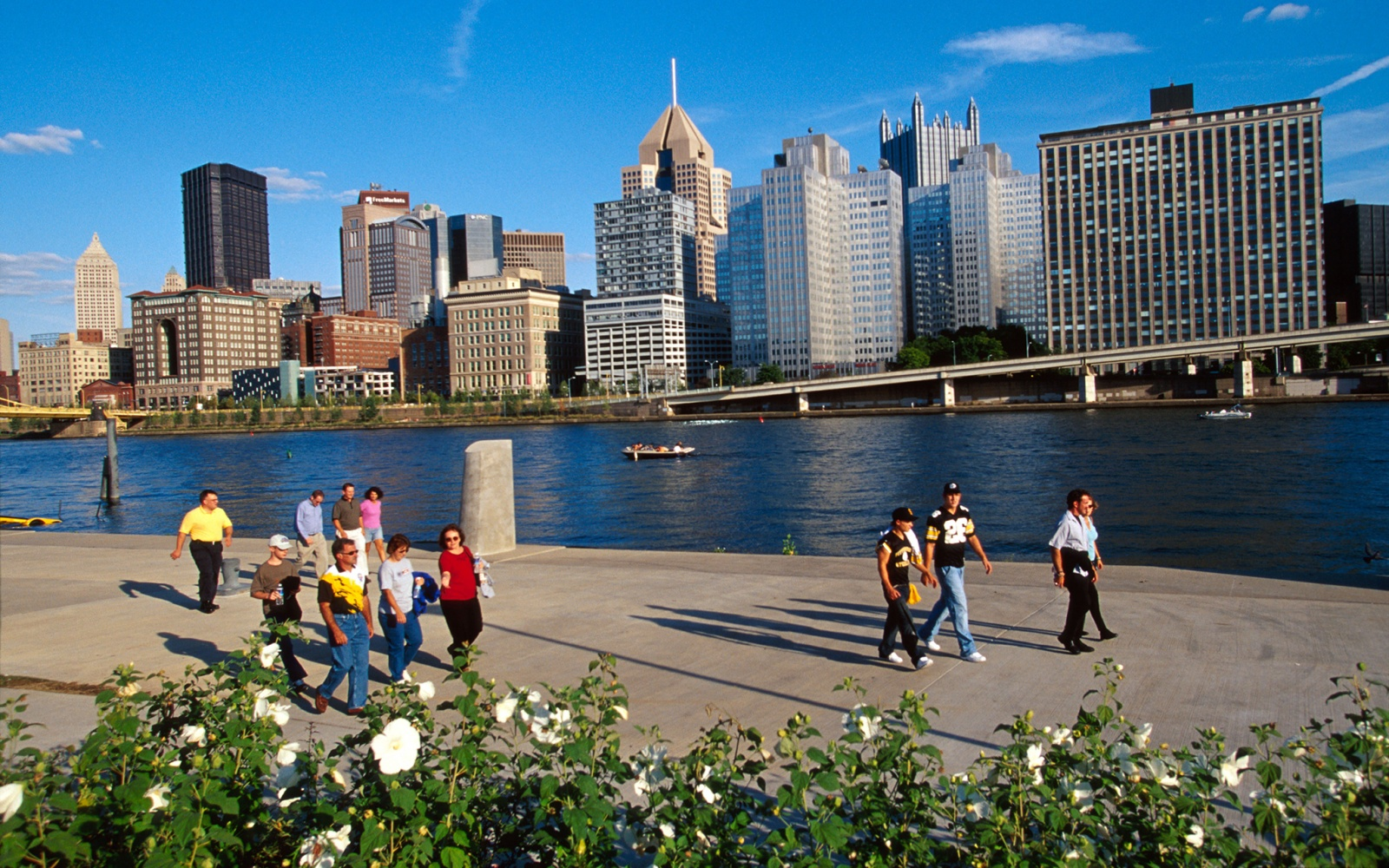 walking along the river in Pittsburgh, PA