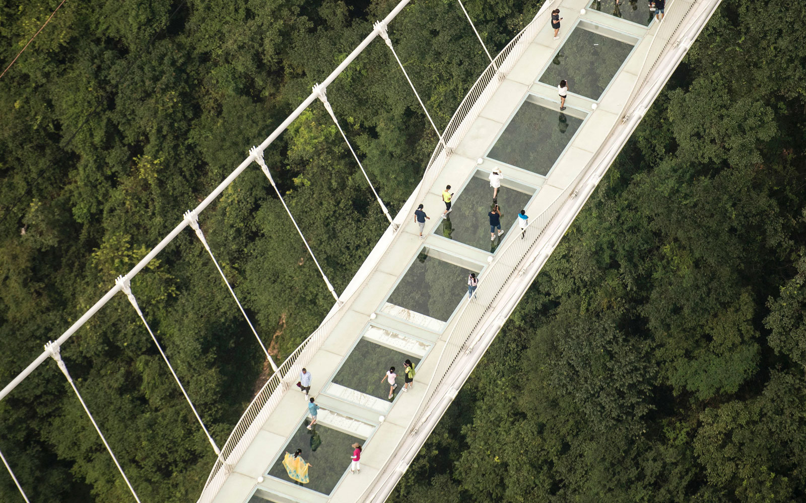 Above the glass bridge in China.