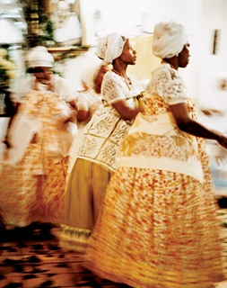 Women in traditional African dress perform a candomblé ceremony in Federação, just outside Salvador.