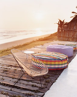 Lounge chairs on a beachside patio at Azúcar, in Veracruz.