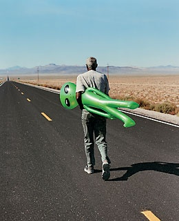 Extraterrestrial and friend on the ET Highway, north of the Atomic Test Site.