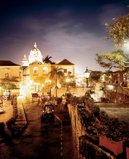 Night falls on the 16th-century Iglesia y Convento de San Pedro Claver, within the walled old city.