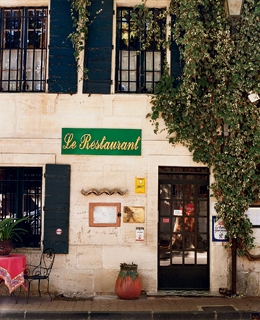 The entrance to Ou Ravi Prouvencau in Maussane-les-Alpilles, home to Provence's best pieds et paquets (lamb's feet and tripe packages).