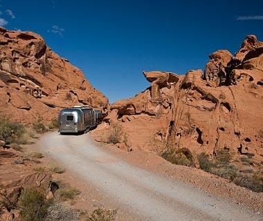 RV in Arch Rock Campground at Valley of Fire State Park, NV