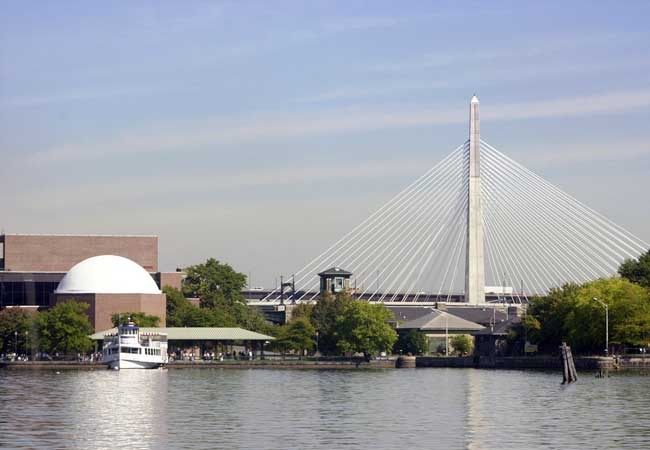 Boston's sedate corporate skyline has been enlivened by the stunning, cable-stayed Zakim Bridge.