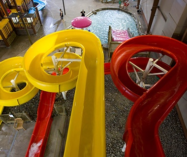 water slides in Cascades Indoor Waterpark in Cortland, NY