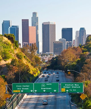busy highway in downtown Los Angles, CA
