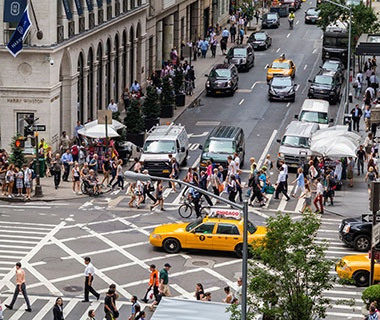 busy manhattan intersection in New York, NY
