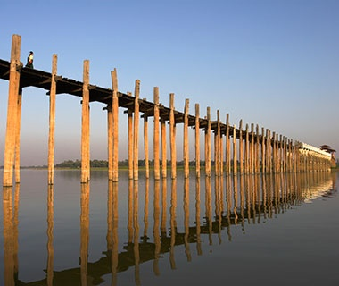Longest Wooden Bridge: U Bein Bridge, Amarapura, Myanmar