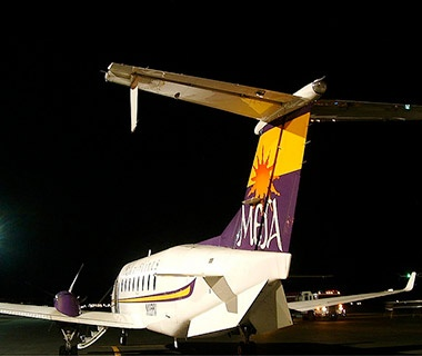 Mesa Airlines airplane at the terminal