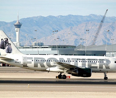 Frontier Airlines airplane on the tarmac