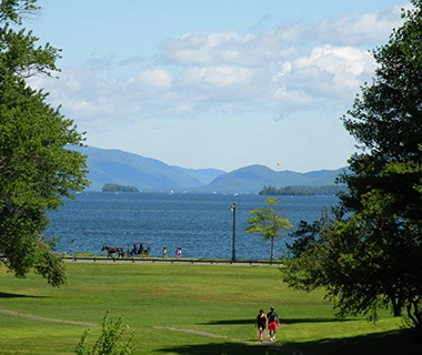 park along side Lake George, NY