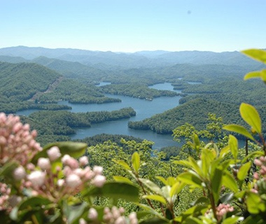 mountain view of beautiful Lake Santeetlah, NC