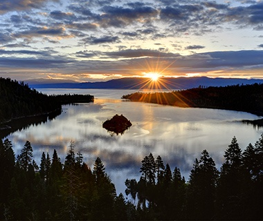 sun setting over Lake Tahoe, CA