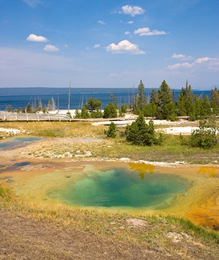 natural hot springs next to Yellowstone Lake, WY