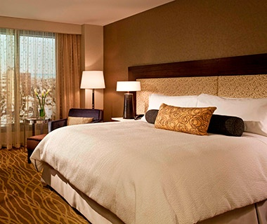hotel bed at InterContinental New York in Times Square, NYC