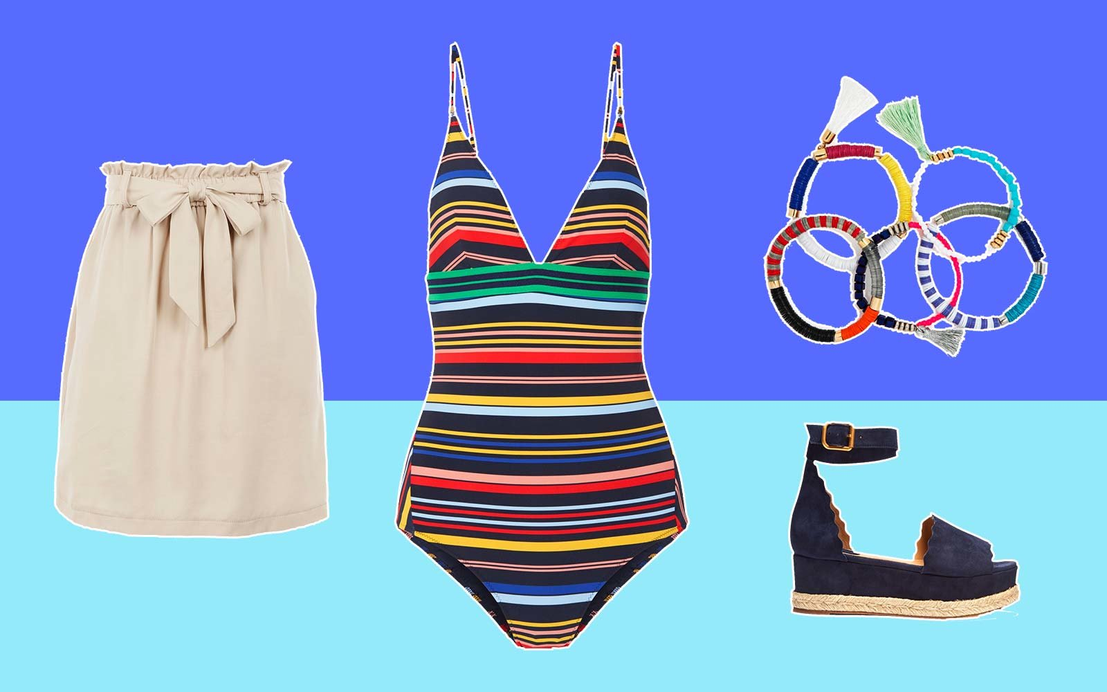 Swimsuit Style Fashion Patterns Bold Stripes Colors
