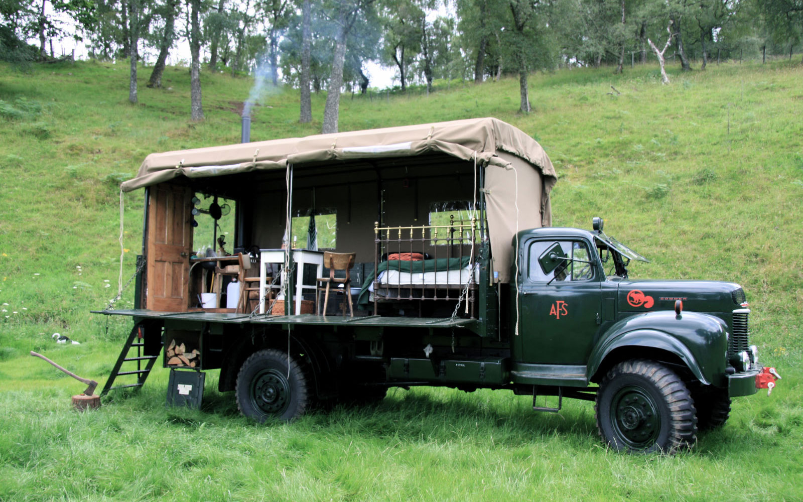 hotel in a truck at The Beermoth in Inverness-Shire, U.K.
