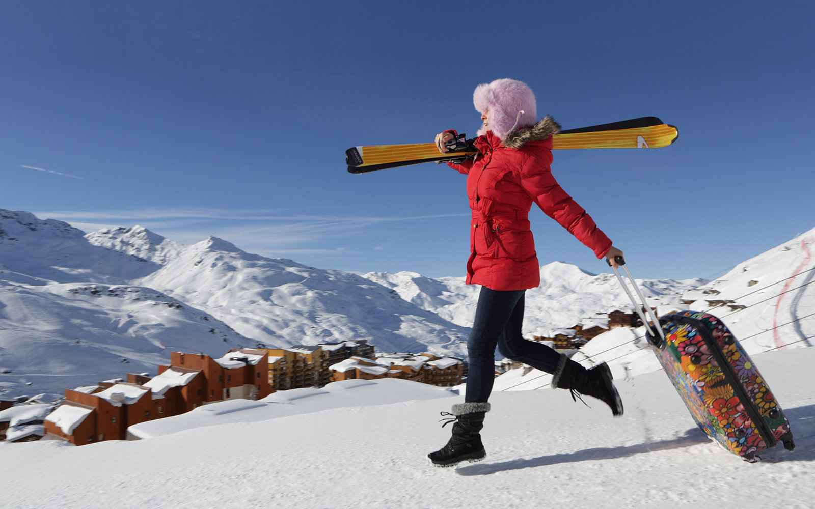 Traveling with skis