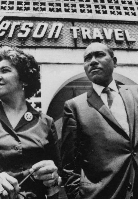 Freddye and Jake Henderson outside of Henderson Travel, Atlanta, the first accredited African-American owned travel agency in the United States, opened in 1955