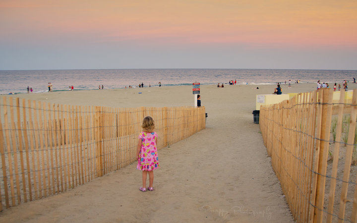 A little girl standing in a fenced beach path
