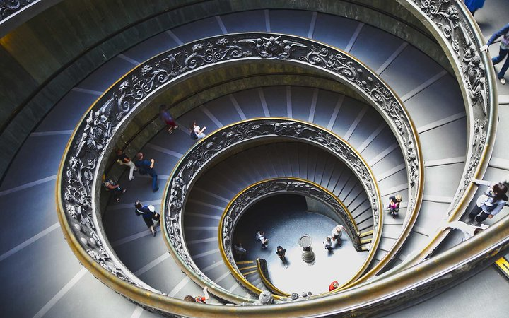 View of the Spiral Staircase at the Vatican .