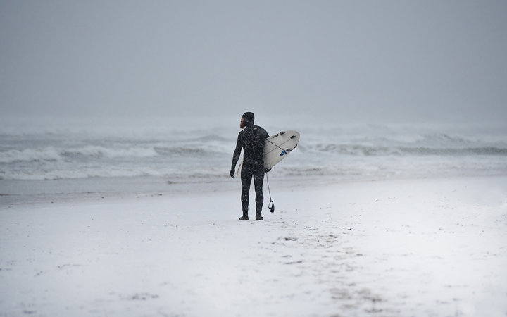 First Time Surfer Heads Out During Stella