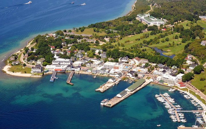 Aerial, Mackinac island, Michigan