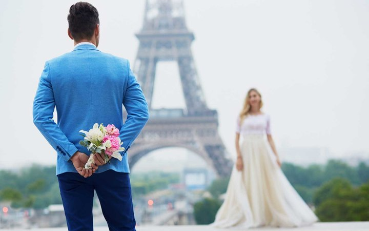Just married couple in Paris, France.