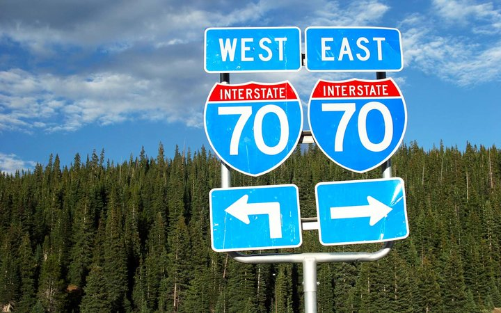 Interstate 70 highway signs Colorado