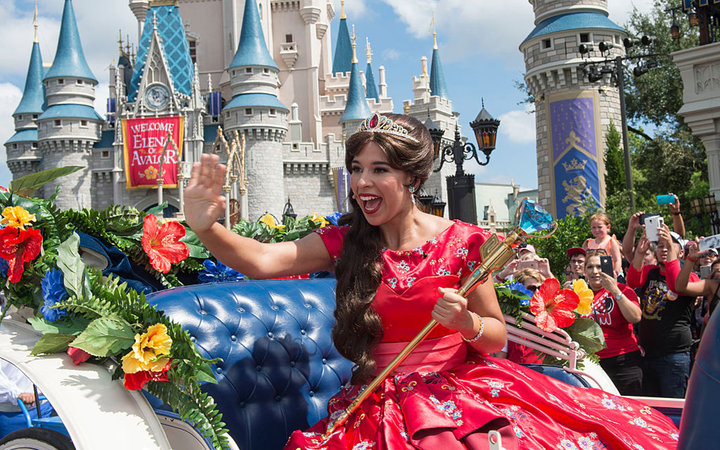 LAKE BUENA VISTA, FL - AUGUST 11:  In this handout photo provided by Disney Parks, Princess Elena of Avalor, the first Latin-inspired Disney princess, receives a royal welcome during her arrival at Magic Kingdom Park on August 11, 2016 in Lake Buena Vista