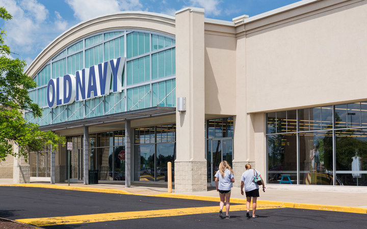 Entrance to large Old Navy clothing store in Manassas, Virginia, USA