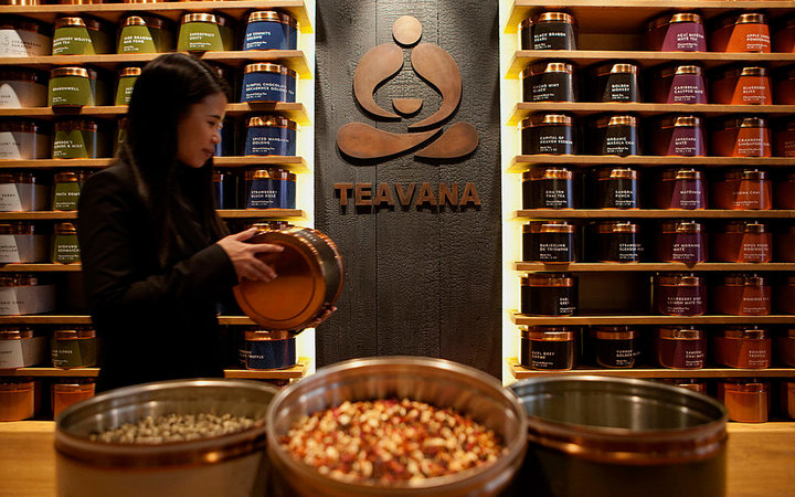 Tins of tea sit stacked at a Teavana tea bar in New York, U.S., on Thursday, Oct. 24, 2013. Starbucks Corp., the world's largest coffee-shop chain, is opening its first Teavana tea bar in New York as the company pushes beyond its signature drink. Photogra