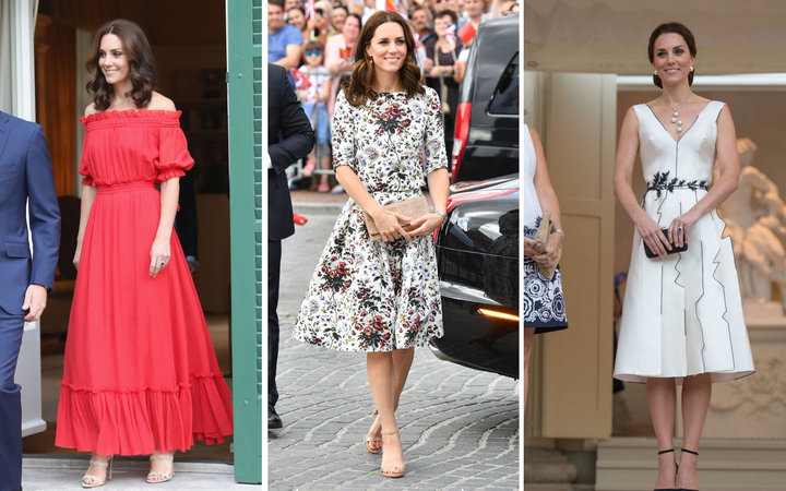 Spliced outfits of Duchess Kate wearing three different oufits