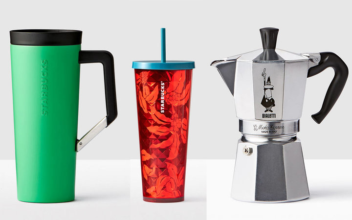 Starbucks mug, cup, and espresso maker