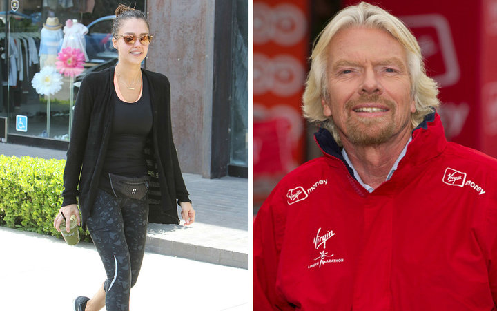 Jessica Alba and Richard Branson working out