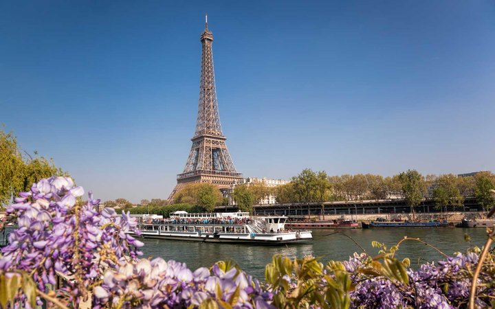 Paris, France view of the Eiffel Tower and Reine River