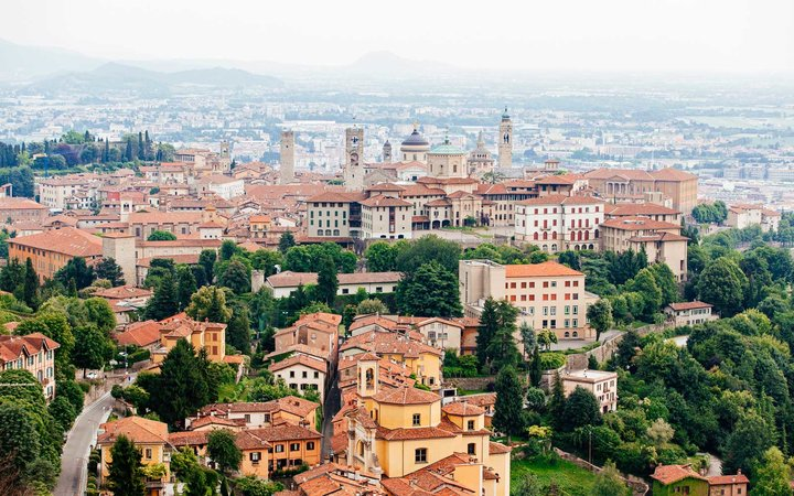 Aerial view of Bergamo old town cityscape, Lombardy, Italy