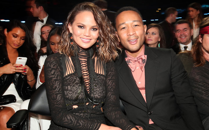 Chrissy Teigen and musician John Legend during The 59th Grammy Awards at the Staples Center on February 12, 2017 in Los Angeles, California.