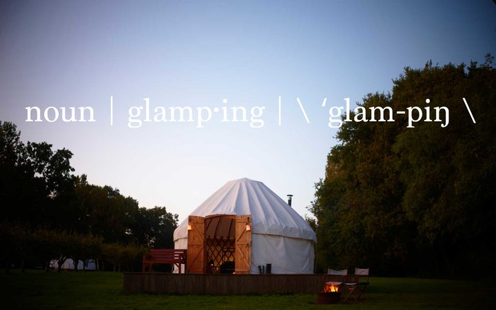 Glamping grounds in Hidden Springs Farm and Campsite, East Sussex, England