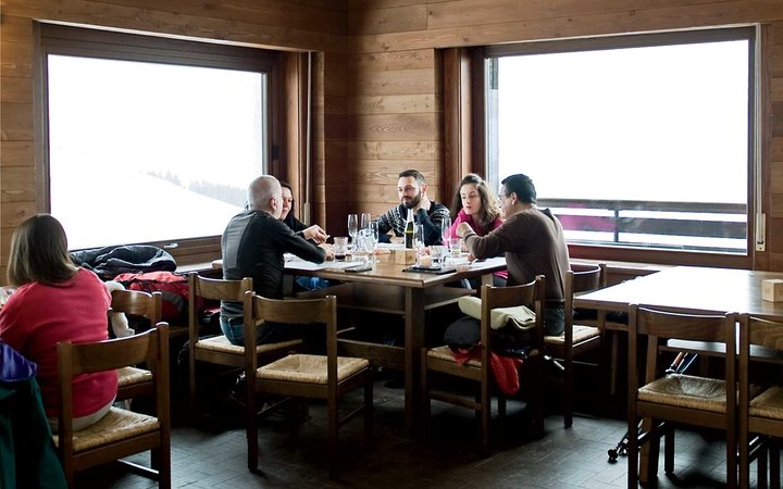 Diners at the Monte Marca Hut