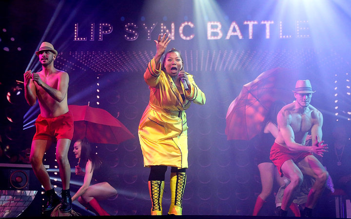 Queen Latifah performs in a LipSync Battle as part of the naming celebration for the Carnival cruise ship Horizon at Pier 88 on May 23, 2018 in New York City.