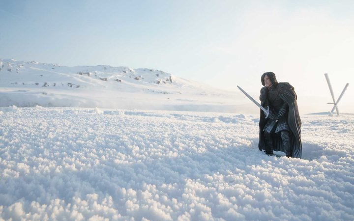 Jon Snow in the snow, in Iceland