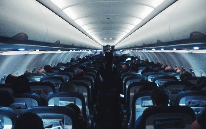 Passenegers on an airplane