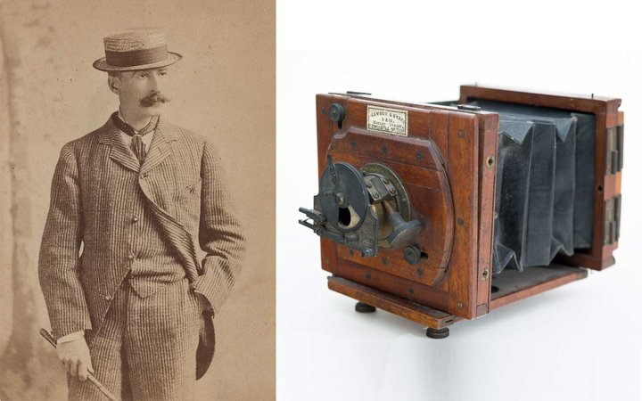 Winslow Homer in New York, 1880, albumen silver print by Napoleon Sarony (1821–1896). & Mawson & Swan camera owned by Winslow Homer, ca. 1882. Gift of Neal Paulsen, in memory of James Ott and in honor of David James Ott '74.
